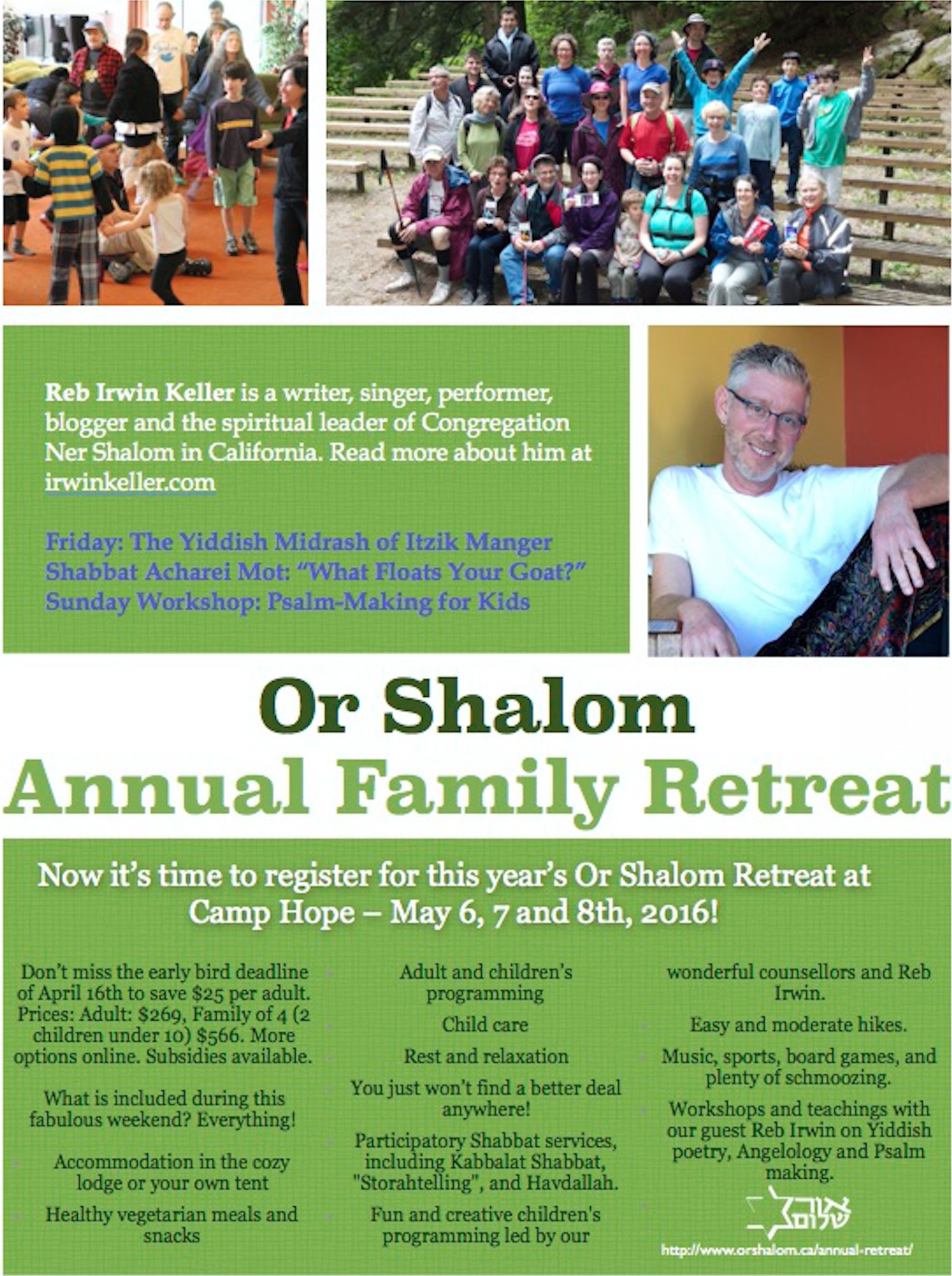 Save Now on Early Bird Retreat Registration!   Or Shalom Synagogue